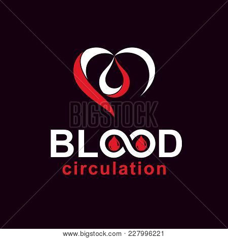 Vector Red Heart With Blood Circulation Inscription. Blood Transfusion Metaphor, Medical Care Emblem
