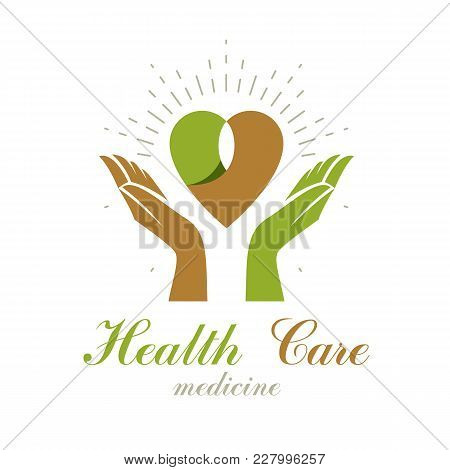 Vector Heart Shape Composed With Green Leaves And Caring Hands. Medical Rehabilitation Abstract Logo