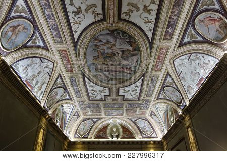 Rome, Italy -  December 3, 2017: Frescoed Ceiling Of The Altoviti Hall In The Palazzo Venezia