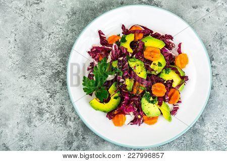 Vegetarian Salad With Radicchio And Avocado. Studio Photo