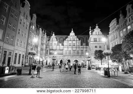 Gdansk. Poland-september 19, 2016: Night View On The Illuminated Market Square In The Old Town Cente