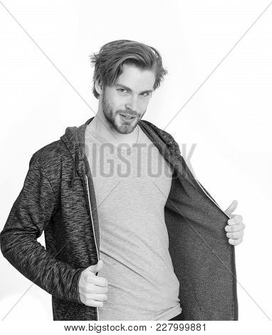 Athletic Man In Sportswear. Sport And Fashion. Fashion Model Isolated On White. Man In Grey Jersey.