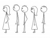 Cartoon stick man drawing conceptual illustration of group of people waiting in line or queue. Concept of stress and powerlessness. poster
