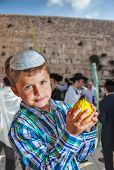 Beautiful Jewish boy with green eyes, in white skullcap, with citrus in his hand. Autumn Jewish holiday Sukkot. The greatest shrine of Judaism is the Western Wall of the Temple poster