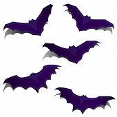 Set of silhouettes of flying bats with shadows poster