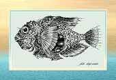 Hand-draw of fantastic fish on we turn blue background poster