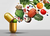 Vitamins supplements as a capsule with fruit vegetables nuts and beans inside a nutrient pill as a natural medicine health treatment with 3D illustration elements. poster