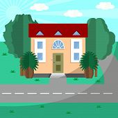 House by the road among green trees poster