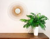 Decorative round mirror and parlor palm plant on a dresser. Modern home decor. poster