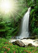 beautiful waterfall in the National Park Tercino valley in the mountains Novohradske-Czech Republic poster