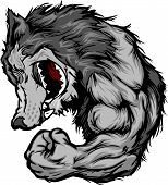 Cartoon Image of a Wolf Mascot Growling and Flexing Arm poster