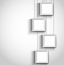 Hanging Modern Photo Frame On White Wall Background. Vector Illustration.