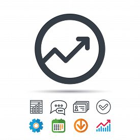 Growing Graph Icon. Business Analytics Chart Symbol. Statistics Chart, Chat Speech Bubble And Contac
