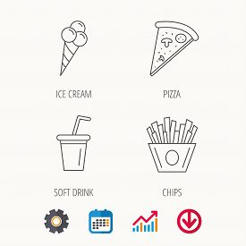 Ice Cream, Pizza And Soft Drink Icons. Chips Fries Linear Sign. Calendar, Graph Chart And Cogwheel S