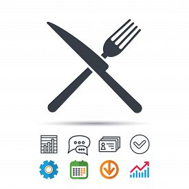 Fork And Knife Icons. Cutlery Symbol. Statistics Chart, Chat Speech Bubble And Contacts Signs. Check
