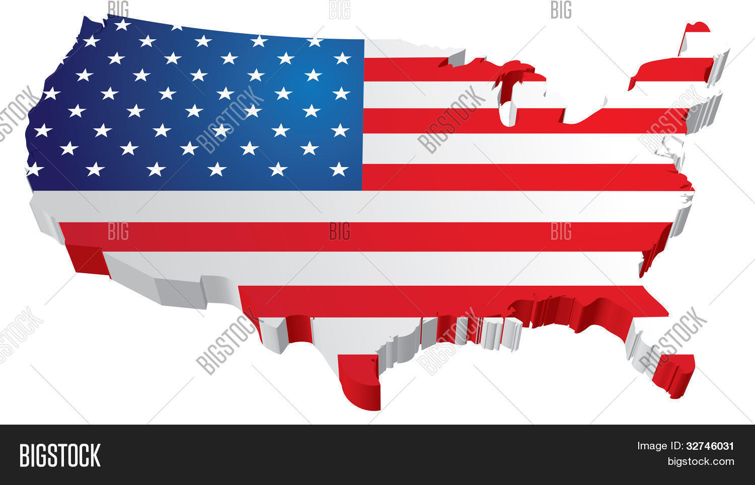 Usa 3d State Flag Map Vector Photo Free Trial Bigstock - Free-3d-us-map