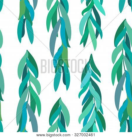 Abstract, Beautiful, Textured Green Background From Willow Leaves. Various Leaves Of Green-blue Shad