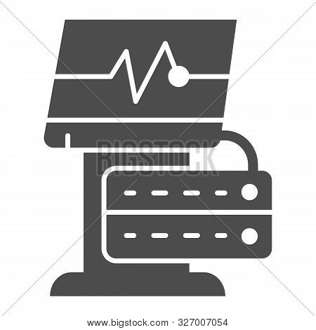 Ekg Device Solid Icon. Medical Monitor Vector Illustration Isolated On White. Electrocardiogram Mach