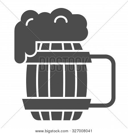 Wooden mug of beer solid icon. Craft beer vector illustration isolated on white. Ale mug with froth glyph style design, designed for web and app. Eps 10. poster