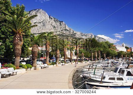 Baska Voda - Croatia - August 15 2017. Baska Voda Palm Waterfront View, In Makarska Riviera, Dalmati