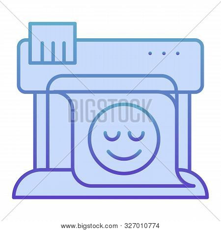 Plotter Flat Icon. Large Format Printer Blue Icons In Trendy Flat Style. Print Machine Gradient Styl