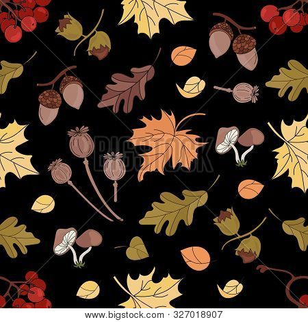 Ashberry Landscape Nature Forest Autumn Fall Season Black Seamless Pattern Vector Illustration For P