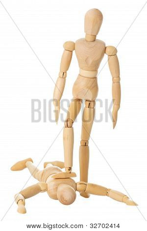 Wooden Doll Stands On Another Wooden Doll