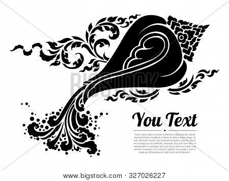 Thai Conch Isolate Vector. Hand Drawn Thai Conch Shell On Water, Line Thai Is Thailand Style And Tat