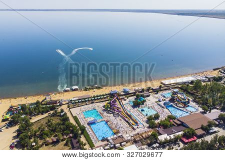 View From The Top Of The City Resort By The Salt Lake. Aerial View Of The City And The Lake Called Y