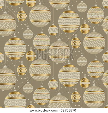 Christmas Gold Decor Baubles Seamless Pattern
