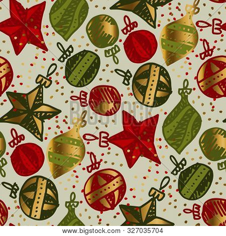 Christmas Decoration In Hand Drawn Style Seamless Pattern
