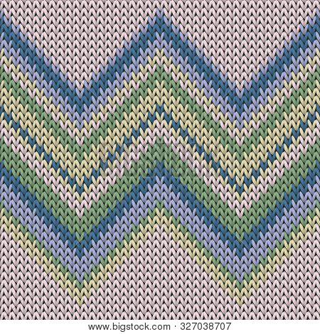 Cozy Zig Zal Lines Knitted Texture Geometric Vector Seamless. Blanket Knitwear Structure Imitation.