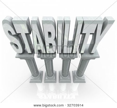 The word Stability on marble stone columns representing dependability strength, resilience, maturity and other features that you can rely on when in need of help