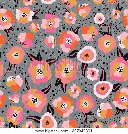 Pink Orange Black Gray Gold Scandinavian Style Flowers Seamless Vector Pattern. Flat Stylized Floral