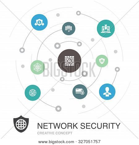 Network Security Colored Circle Concept With Simple Icons. Contains Such Elements As Private Network