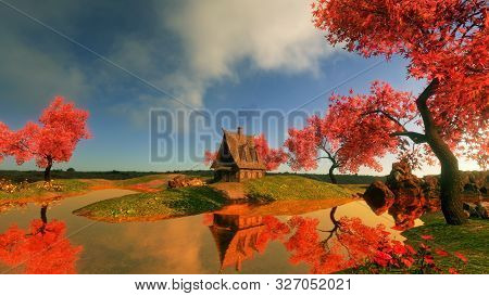 Rural House In A Fabulous Alpine Area. Autumn Trees With Red Leaves And A Stream. 3d Illustration.