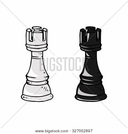 Chess Piece Icon. Vector Illustration Of Rook. Chess Piece Rook. Hand Drawn Vector Illustration.