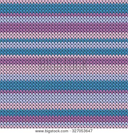 Bright Horizontal Stripes Knit Texture Geometric Vector Seamless. Jumper Knit Effect Ornament. Norwe