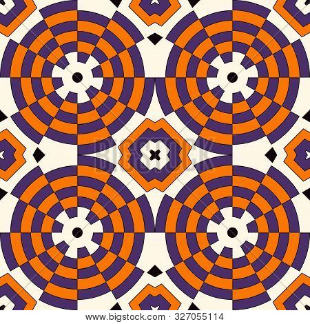 Seamless Pattern In Halloween Traditional Colors. Colorful Kaleidoscope Decorative Round Ornament On
