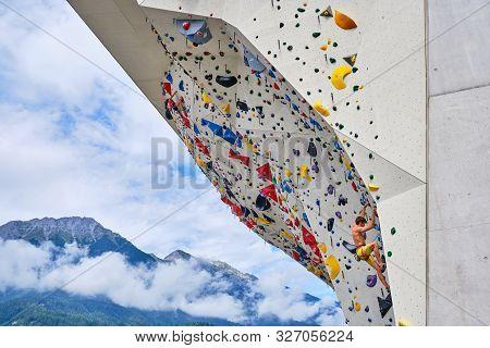 Innsbruck, Austria - August 19, 2019: Athletes Training At Kletterzentrum Innsbruck (climbing Center