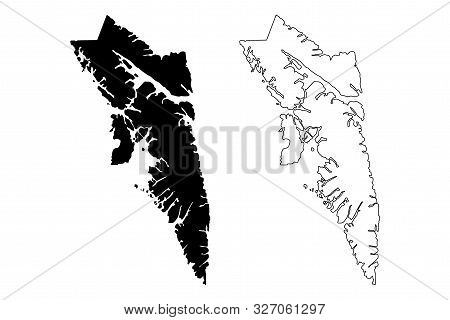 City and Borough of Sitka, Alaska (Boroughs and census areas in Alaska, United States of America,USA, U.S., US) map vector illustration, scribble sketch Novo-Arkhangelsk or New Archangel map poster