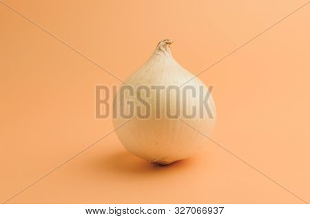 White Onions In Husks On A Beige Background, Unpeeled Sweet Onions On The Surface, Onions In A Minim