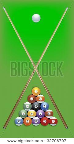 illustration of billard cues and balls on green background