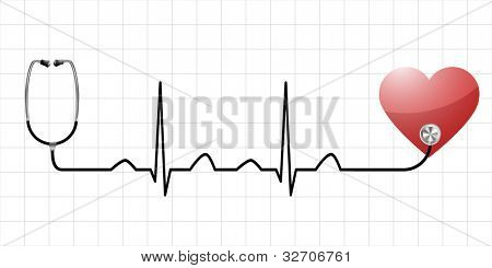 illustration of a sinus curve as a symbol for life and vitality with a heart and medical equipment