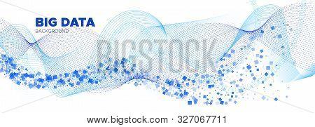 Matrix Vector. White Flow Particle Pattern. Blue Information Technology. Big Data Stream. White Matr
