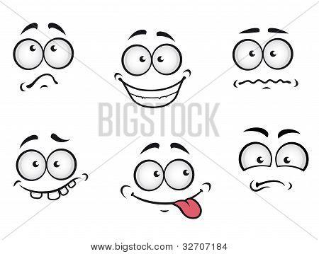 Caras de emoções dos desenhos animados