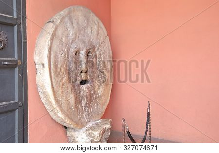 Rome Italy - June 14, 2019: Mouth Of Truth Roman Holiday Icon In  Rome Italy