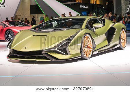 Frankfurt-september 19:  Lamborghini Sian Fkp 37  At The Frankfurt International Motor Show On Septe