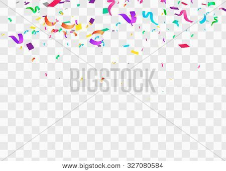 Confetti Isolated On Transparent Background. Falling Confetti, Birthday Vector Illustration.