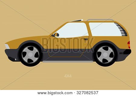 Off Road Car, Side View, Suv, 4x4 Car, Flat Design Style